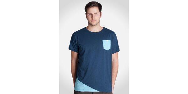 Pánské modré tričko s modrou kapsičkou Skank