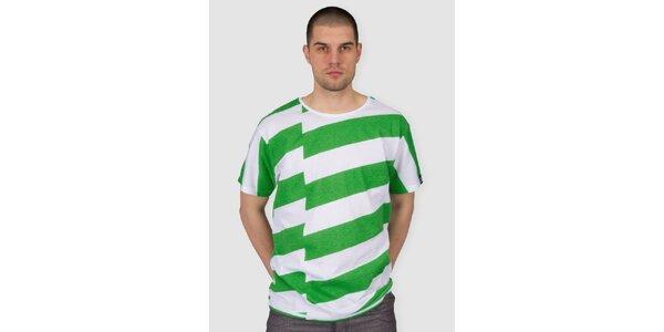 Pánské zeleno-bíle pruhované tričko Skank