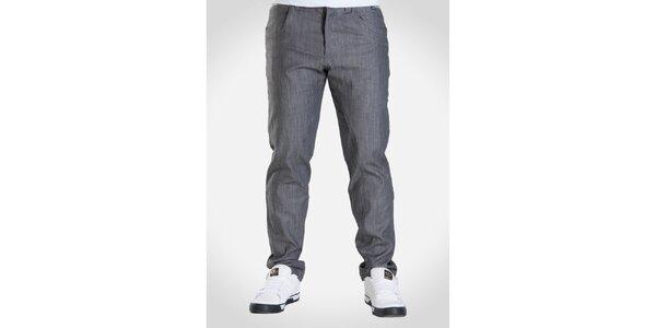 Pánské šedě melírované kalhoty Skank