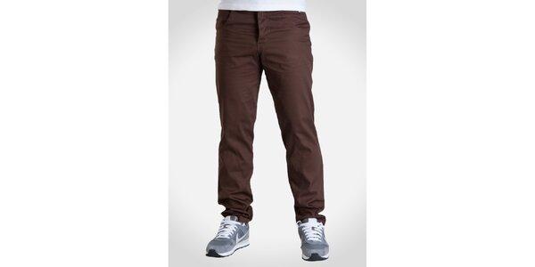 Pánské kaštanově hnědé kalhoty Skank