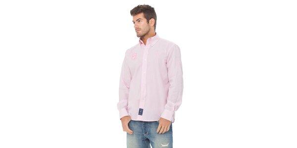 Pánská světle růžová kostičkovaná košile Valecuatro s výšivkou