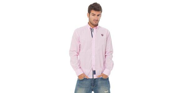 Pánská světle růžová proužkovaná košile Valecuatro s výšivkou