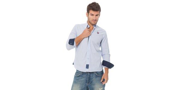 Pánská modrá proužkovaná košile Valecuatro s výšivkou