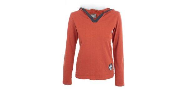 Dámské paprikové tričko s kapucí Hannah