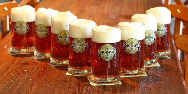 8× 0,5 l polotmavého piva Morava na Porubě