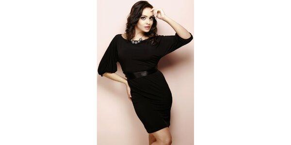 Dámské černé šaty s leským páskem Figl