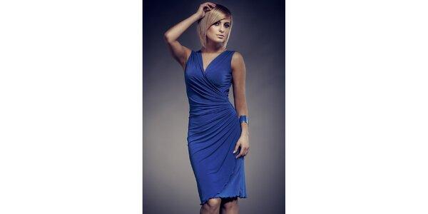 Dámské modré zavinovací šaty Figl