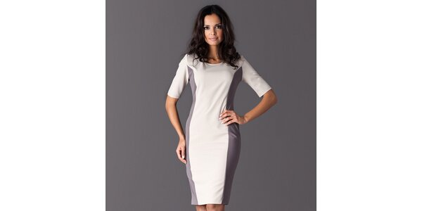 Dámské bílé šaty s šedými bočními lemy Figl