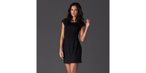 Dámské černé šaty s krátkými rukávy a mašlí Figl