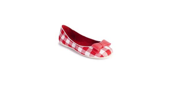 Dámské kárované červeno-bílé baleríny Lola Ramona