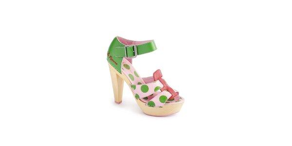 Dámské růžovo-zelené sandály Lola Ramona s puntíkovaným vzorem