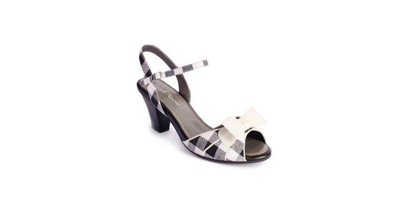 Dámské černo-bílé sandály Lola Ramona s mašlí a kostkami