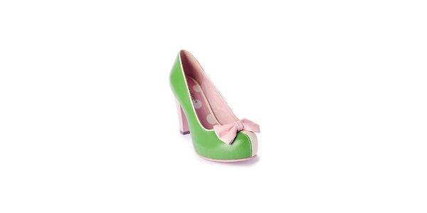 Dámské zeleno-krémové lodičky Lola Ramona s růžovou mašličkou