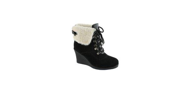 Dámské černé semišové kotníkové boty s nápletem Lola Ramona