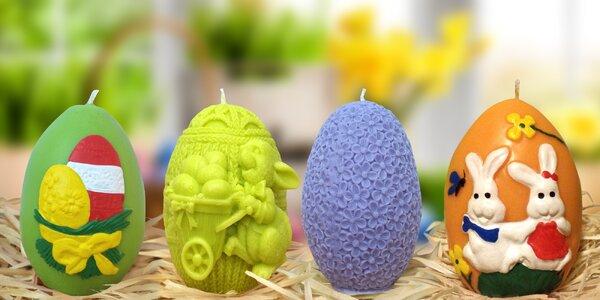 Ručně malované velikonoční svíčky ve tvaru vajíček