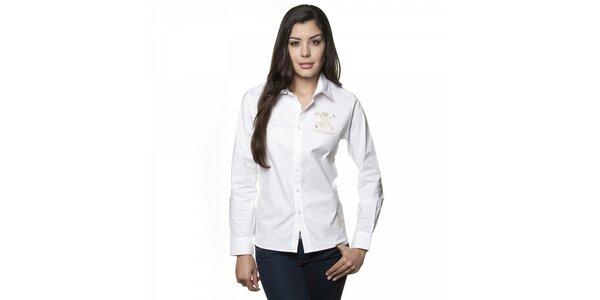 Dámská bílá košile Valecuatro se zlatou výšivkou