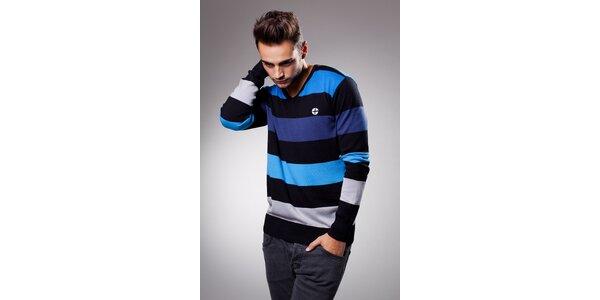Pánský modročerný proužkovaný svetr Celop