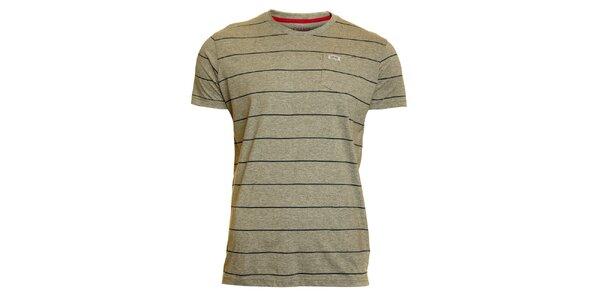 Pánské světle šedé pruhované tričko Chaser