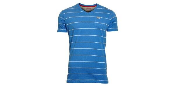 Pánské světle modré proužkované tričko Chaser