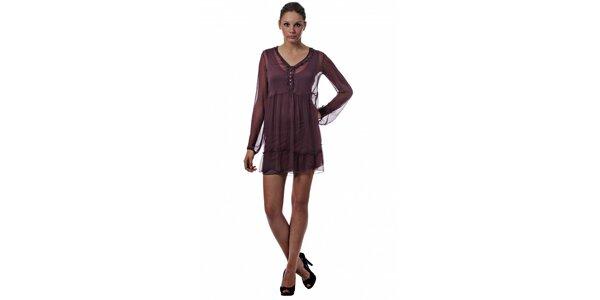 Dámské vínové dvouvrstvé šaty Miss Sixty