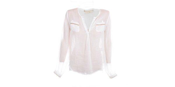 Dámská bílá lněná košile s béžovými lemy Nougta London