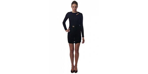 Dámské černé mini šaty Miss Sixty s páskem