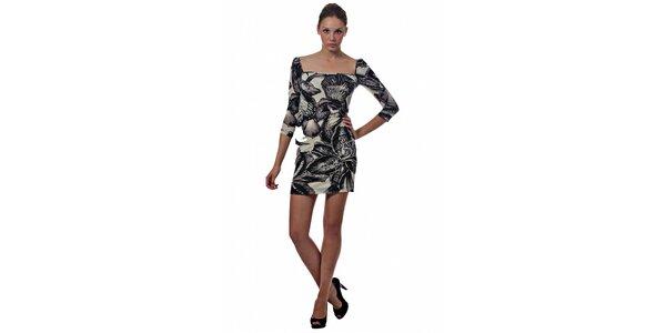 Dámské černobílé mini šaty Miss Sixty s květinovým potiskem