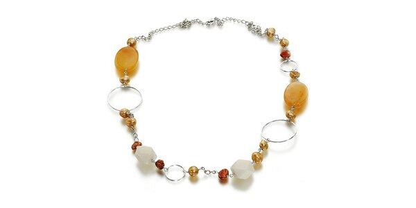 Dámský náhrdelník s perlami a nefritem Orchira