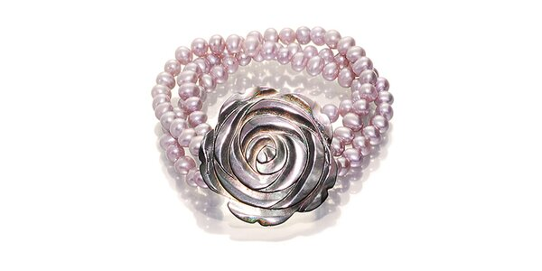 Perlový náramek Orchira s ručně vyřezávanou růží