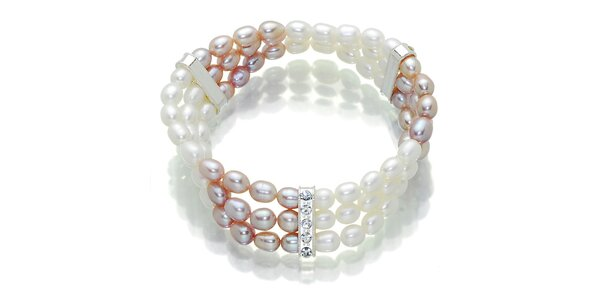 Dámská růžovo-bílý perlový náramek Orchira