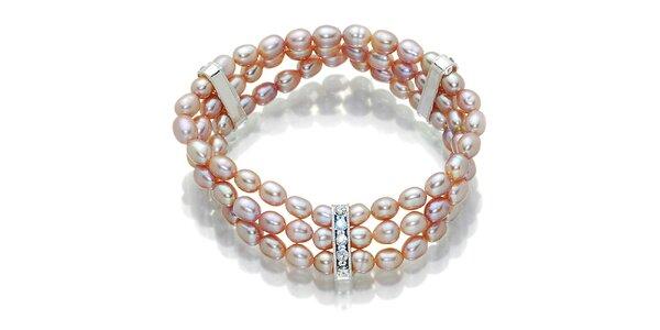 Dámská růžovo-fialový perlový náramek Orchira