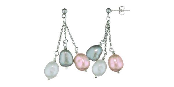 Náušnice Orchira s bílou, broskvovou a stříbrnou perlou