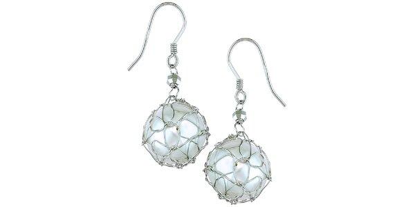Dámské bílé stříbrné perlové náušnice Orchira