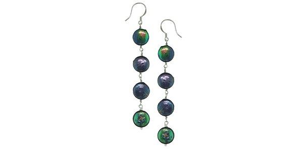 Dámské fialovo-zelené stříbrné perlové náušnice Orchira