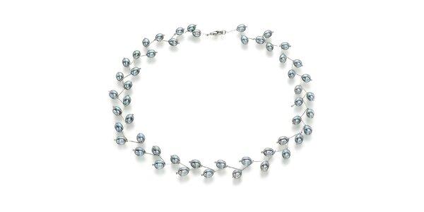 Náhrdelník Orchira s šedo-modrými perlami