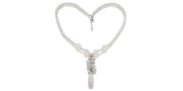 Dámský zdobený náhrdelník s bílými perlami a růženíny Orchira