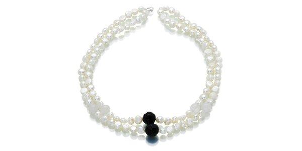 Dámský perlový náhrdelník Orchira s onyxem