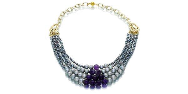 Dámský šedo-fialový perlový náhrdelník Orchira