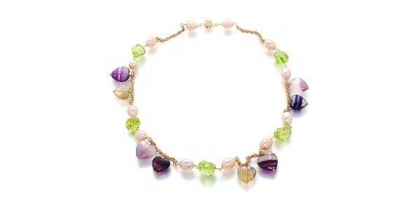 Dámský barevný náhrdelník z perel a drahokamů Orchira