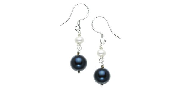 Dámské stříbrné náušnice s bílými a černými perlami Orchira
