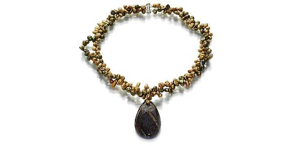 Perlový náhrdelník Orchira se zelenými a bronzovými perlami s velkým jaspisovým…