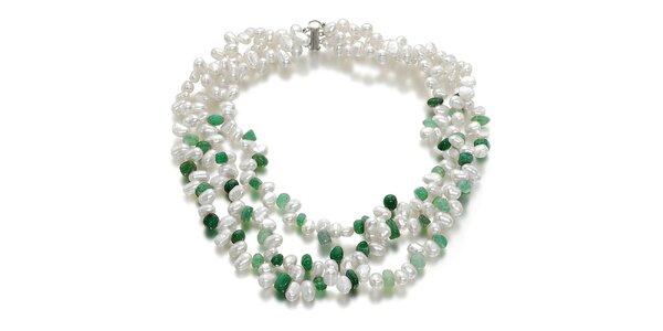 Dámský bílý perlový náhrdelník Orchira se zelenými kamínky