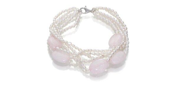 Dámský perlový náramek Orchira s růženíny