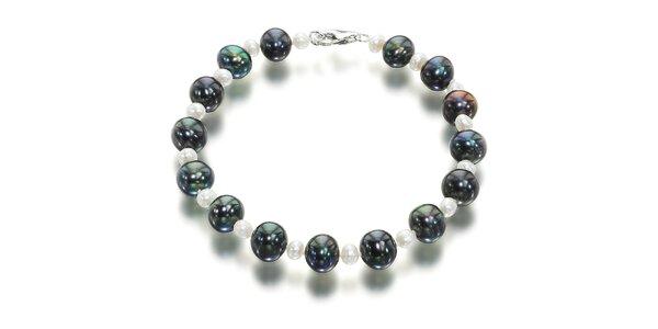 Dámský náramek s černými a bílými říčními perlami Orchira