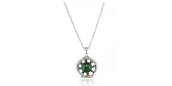 Stříbrný náhrdelník Orchira s černou perlou