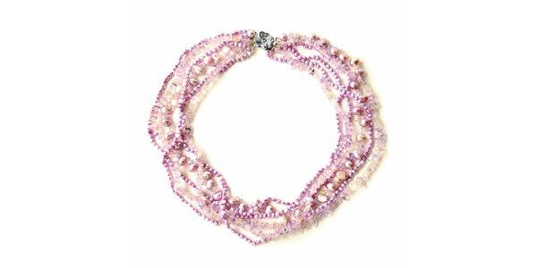Náhrdelník Orchira s růžovými a fialovými perlami