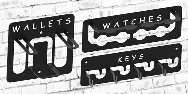 Kovové věšáky na kabáty, klíče i brýle