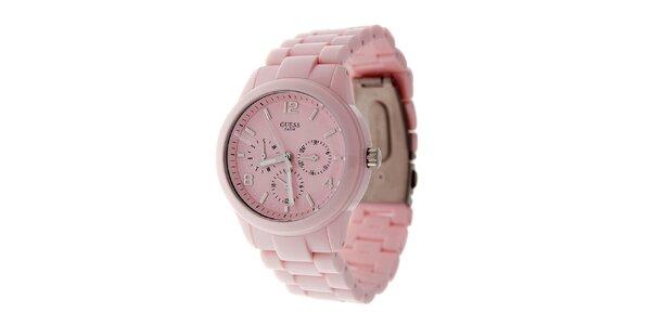 Dámské světle růžové náramkové hodinky Guess