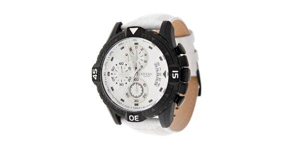 Pánské černobílé hodinky Guess s koženým páskem