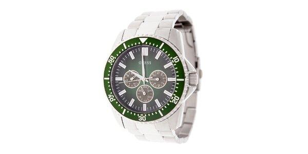 Pánské ocelové hodinky Guess se zeleným ciferníkem